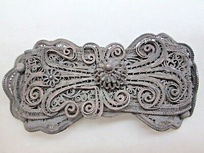 WOMAN BELT BUCKLE ANTIQUE COPPER SILVER PLATED FILIGREE EUROPE 19th CENTURY 2