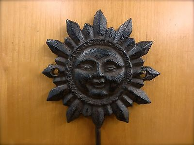 4 BROWN SUN FACE HOOKS ANTIQUE-STYLE CAST IRON decor sunburst yard garden