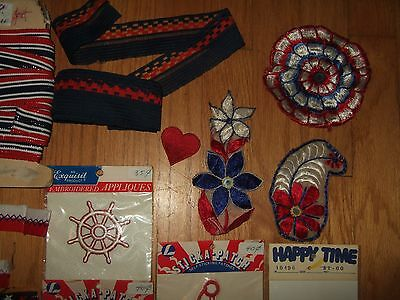 lot yds vintage nautical patriotic trim ribbon patches embroidered star anchor + 6
