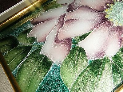 """Beautiful Framed Vintage Enamel / Guilloche On Silver Floral Plaque 16"""" X 11"""" 2"""