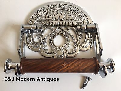 Victorian Toilet Roll Holder Novelty Chrome Unusual GWR Vintage Design Silver 7
