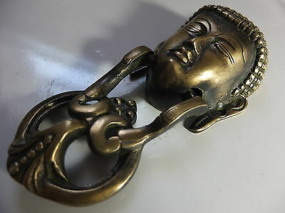 Vintage Antique Style Hand Made Solid Brass Budha Shaped Door Knocker 2