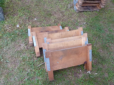 salvaged ANTIQUE WOODEN warehouse factory tray RISER stands galvanized & WOOD 6
