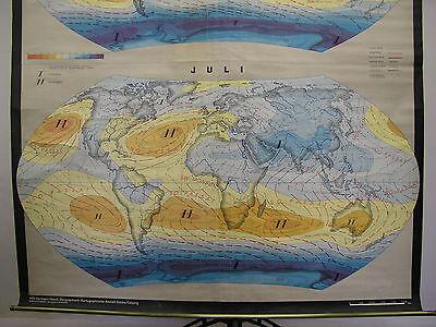 Schulwandkarte schöne alte Weltkarte map world Erde Luftdruck Winde 182x216 1965 2