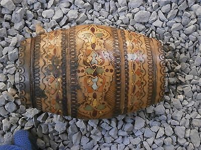 Antique Vintage Wooden Flask Canteen Keg Barrel With Hand Made Painted