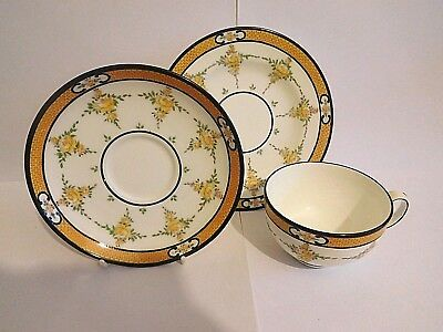 Early 20Th Century Mintons Yellow Roses Cup Saucer And Plate Trio 2