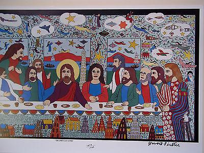 HOWARD FINSTER  Large Last Supper Print  SIGNED NUMBERED  Folk Art