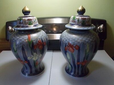 "Two Beautiful Large 14"" Porcelain Urns & Large Wall Plaque 3"