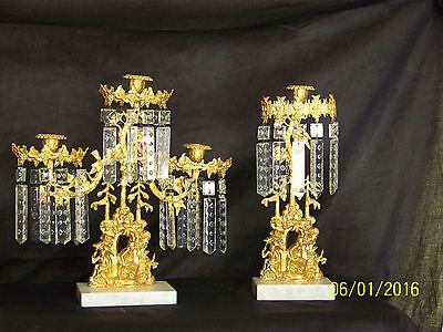 c1850's 3pc Set Girandole Majestic Candelabras Phili.-N.Y. w/Crystal Gold Gilded 6