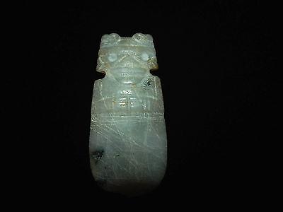 Pre-Columbian Jade Shaman Ceremonial Axe God Pendant, Very Large Large