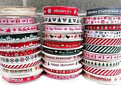 Happy Merry Christmas Ribbons Snowflakes Ribbon Gift Wrapping  1 , 3 or 5 Metres 6