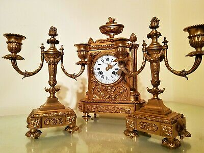 19Th Century French Ormolu Bronze Mantel Clock Garniture. 11