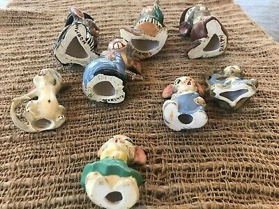 Antique 1919 8 Bisque Nodder Clay Mice Family German? Hand painted & signed RARE 5