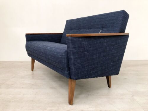 Danish Vintage Inspired Mid Century 50S 2 Seater Cocktail Sofa Settee In Navy 8