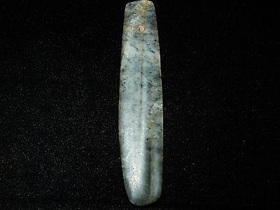 Pre-Columbian Green Jade Ceremonial Pendant , Very Large, Authentic 6