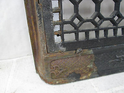 "Vintage Cast Iron Wall Grate w/Damper- Honeycomb Design 11"" x 17"" ASG#9 6"
