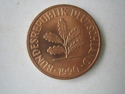 Deutschland BRD 1990 1 Münze 2 Pfennig Prägestätte F fast unzirkuliert