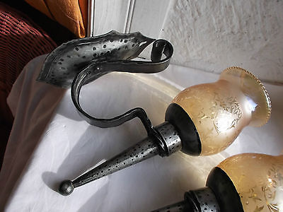 French a pair of wall light  solid wrought iron glass shades nicely detailed 7