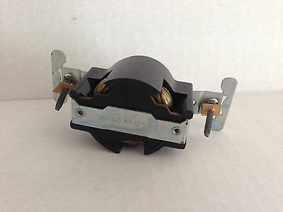 NEW OLD STOCK Leviton BLACK BAKELITE 3 Wire Flush Receptacle Mount 30a 250v 6