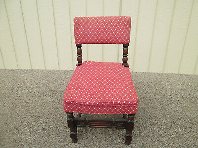 54337  Set 6 Antique Walnut Carved Jacobean Dining Chairs Side Chair s w Cushion 5