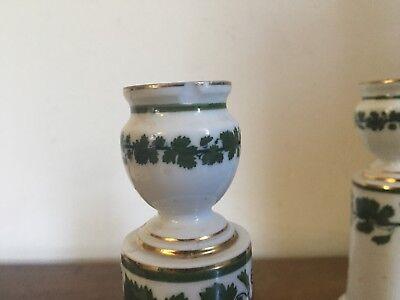 Pair Antique German Meissen Porcelain Candlesticks Green Napoleon Ivy Empire 10