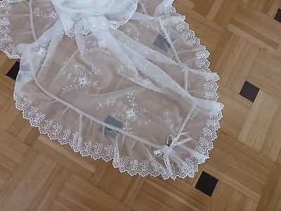 Tischdecke Tischtuch Spitzen bestickt Rose Weiß Ranke Tüll 115x115cm Mitteldecke