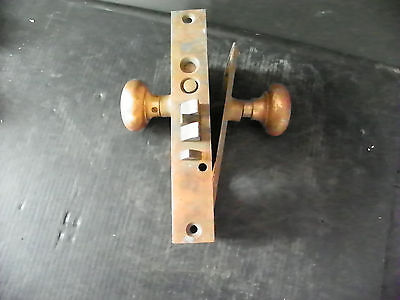 Antique Heavy Brass Exterior Lock With Plates Knobs  6291