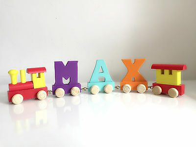 Baby Christening Gifts Wooden Colour train letters for Personalised name train 3