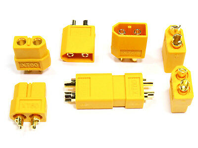 20 Stück 10 Paar Hochstrom T-Stecker T-Plug Goldstecker Schrumpfschlauch