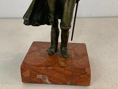 Antiguo 19th Siglo Bronce Napoleon Figura Estatua sobre Rojo Mármol Base 8