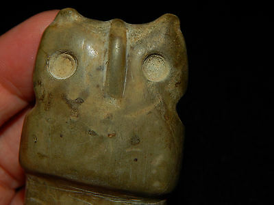Pre-Columbian Jade Avian Axe God, Owl Axe God Pendant, Authentic, Very Large 6