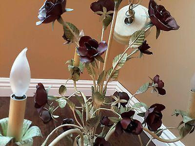 Vintage 3 Arm, Baroque Chandelier w Roses wrought iron Gorgeus 4