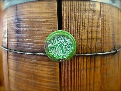 6 GREEN-WHITE LACE GLASS DRAWER CABINET PULLS KNOBS VINTAGE DISTRESSED hardware 6