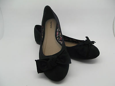 NEW LADIES GIRLS BLACK EX BARRATTS BOW DOLLY SHOES BALLERINAS FLATS SZ 4 5 6 7 8