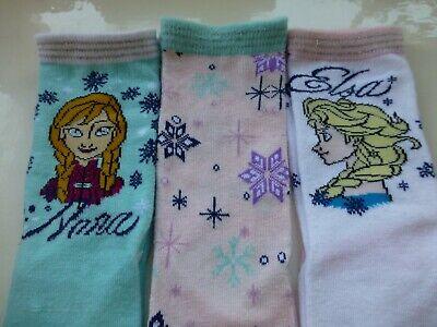 Disney Frozen Anna Elsa Girls Socks  Three (3) Pairs  Age 11+ Years Size 4-5.5 3