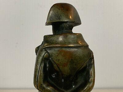 Antiguo 19th Siglo Bronce Napoleon Figura Estatua sobre Rojo Mármol Base 10