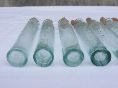 2 x alte kleine Medizin Glas Apotheke Apotheker Flasche grün lang ca. 10,0 cm 3