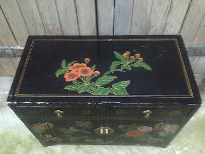 Black Lacquer Chinese 2 Drawer 2 Door Altar Table Oriental Cabinet Birds Flowers 3