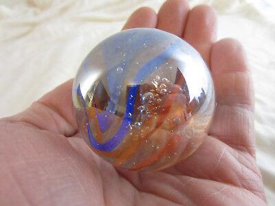 """TOE BREAKER 50mm GREEN SPAGHETTI Wire Pull Confetti Marbles glass ball HUGE 2/"""""""