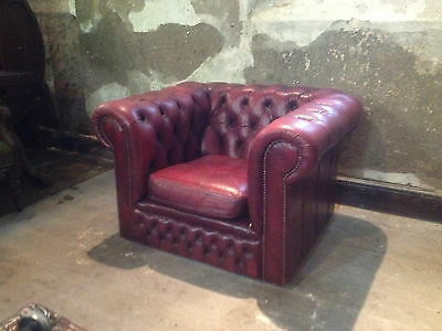 Vintage Chesterfield Armchair ClubChair ButtonBack Fireside Wing OxBloodLeatherx 4
