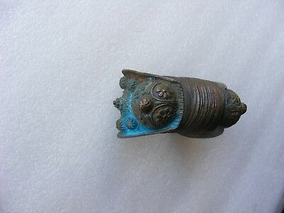 Antique Late Byzantine or Medieval Period  Brass Bracelet  w/Blue Patina