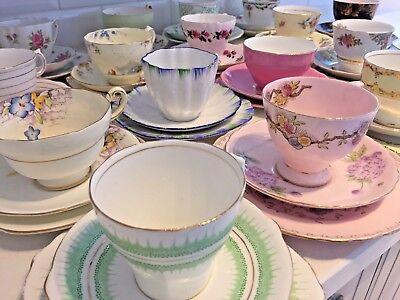 VINTAGE Bone China TEA CUP & SAUCER TRIO Tea Set FLORAL ROSE HARLEQUIN Matching 4