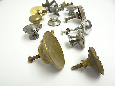 Antique & Vintage Used Old Mystery Metal Brass Drawer Pulls Hardware Round Knobs 6