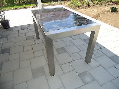 STABILER EDELSTAHLTISCH ESSTISCH Gartentisch mit Steinplatte ...