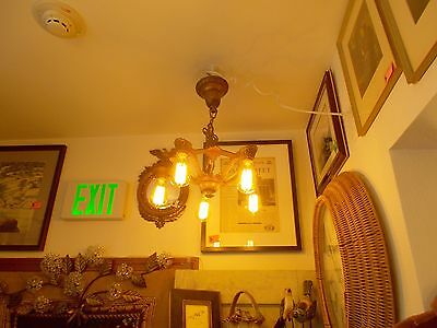 Gorgeous Art Deco Ceiling Fixture, Original Color, 5 Edison Squirrel Cage Bulbs 4
