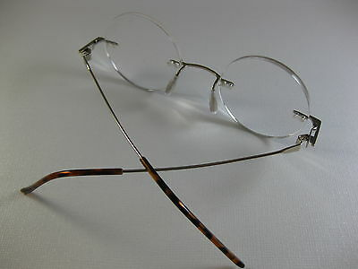 833f49fd8f4f8 ... RIMLESS ROUND Small Steve Jobs Inspired GOLD Reading Glasses Flex  Temples +2.50 4