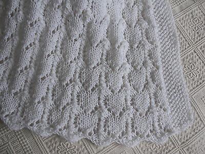 Baby Blanket Knitting Pattern Yarn Set White Dk Easy Lace Afghan