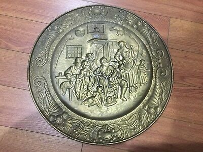 "Lot of 4 Vintage Peerage Embossed Brass Wall Plate ,14"" ,Made in England 12"
