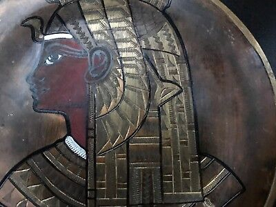 Pair of Vintage Copper Brass Silver Egyptian Plates - wall hangings 2