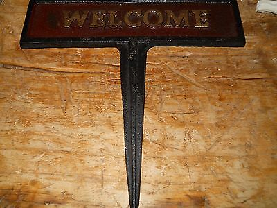 Cast Iron COW WELCOME Sign Garden Stake Home Decor DAIRY Heffer Plaque